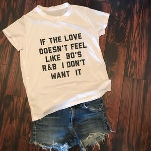 NWOT 90's R&B Love Shirt White Various Sizes